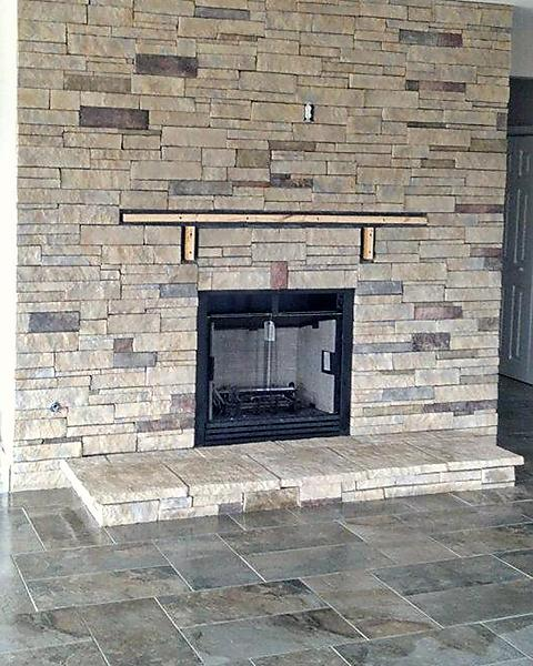 Daltile Stacked Stone Fireplace