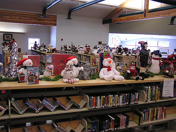 Snowpeople have invaded the library
