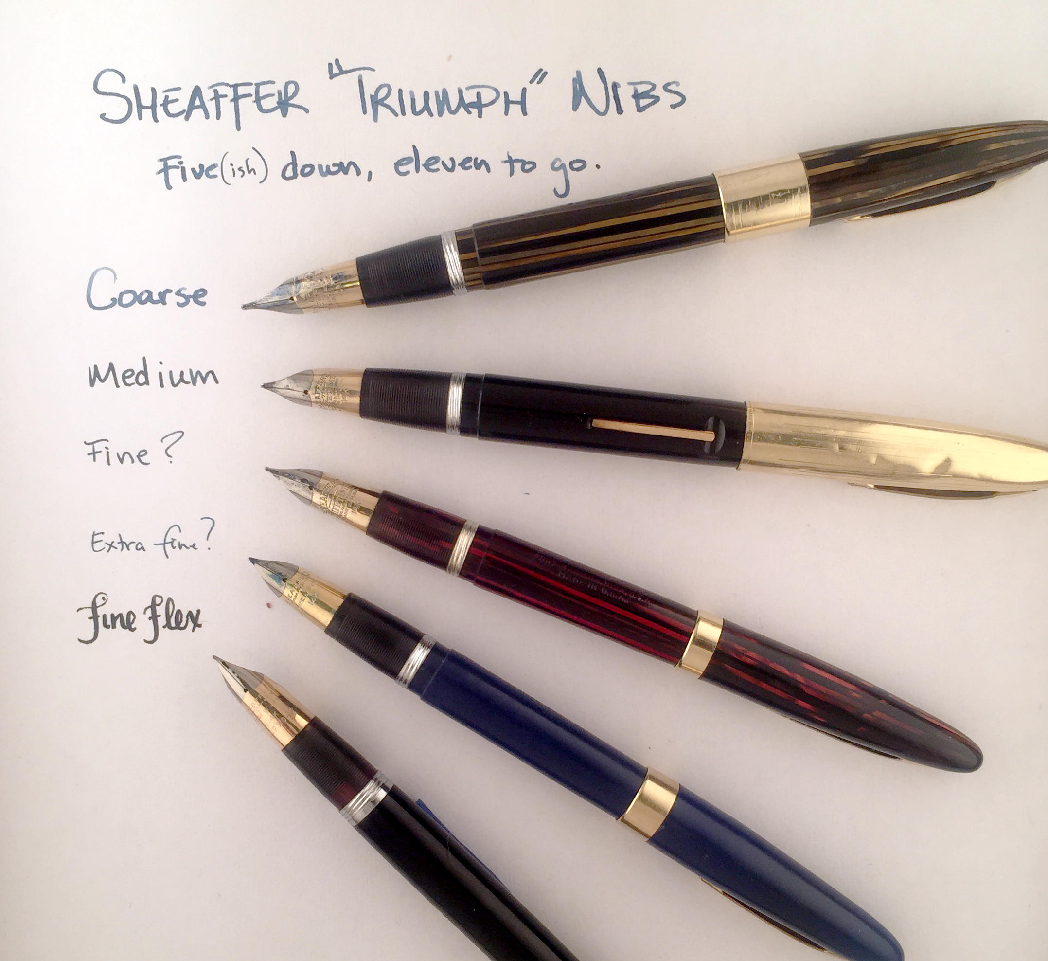 My Sheaffer Triumph Nibs so far