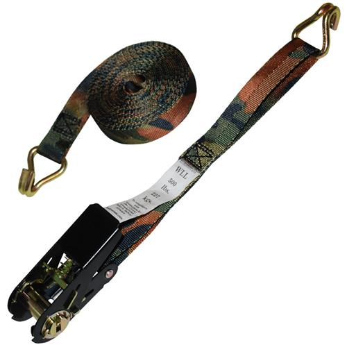 "1"" x 15' CAMO Ratchet Strap w/ Wire Hook"