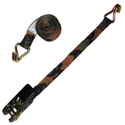 "1"" Custom CAMO Ratchet Strap w/ Wire Hook"