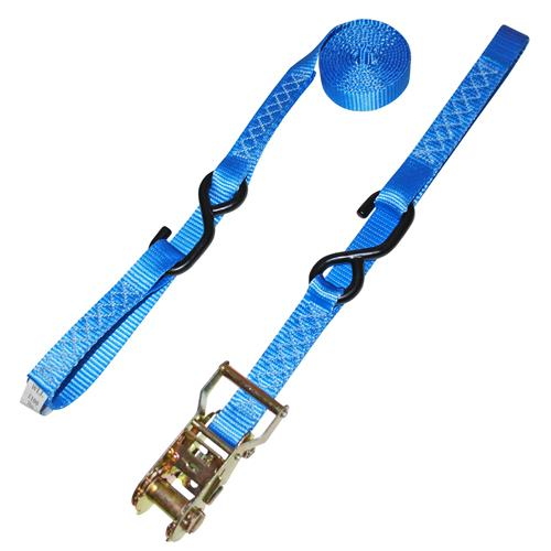 "1"" Extra Heavy Duty Ratchet Strap with Vinyl S-Hooks & Soft Loop"
