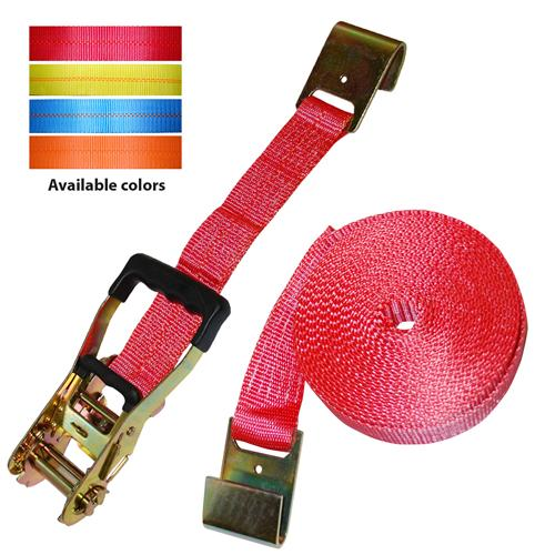 "2"" Rubber Handle Ratchet Strap w/Flat Hooks"
