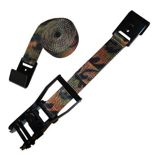 "2"" Camo Ratchet Strap with Flat Hook and Black Ratchet"