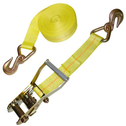 "2"" Ratchet Strap with D-Ring and Grab Hooks"