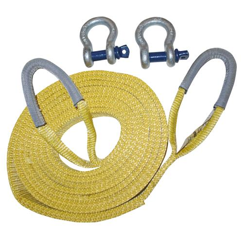 "2"" x 20' TWO PLY Recovery Tow Strap Shackle KIT"