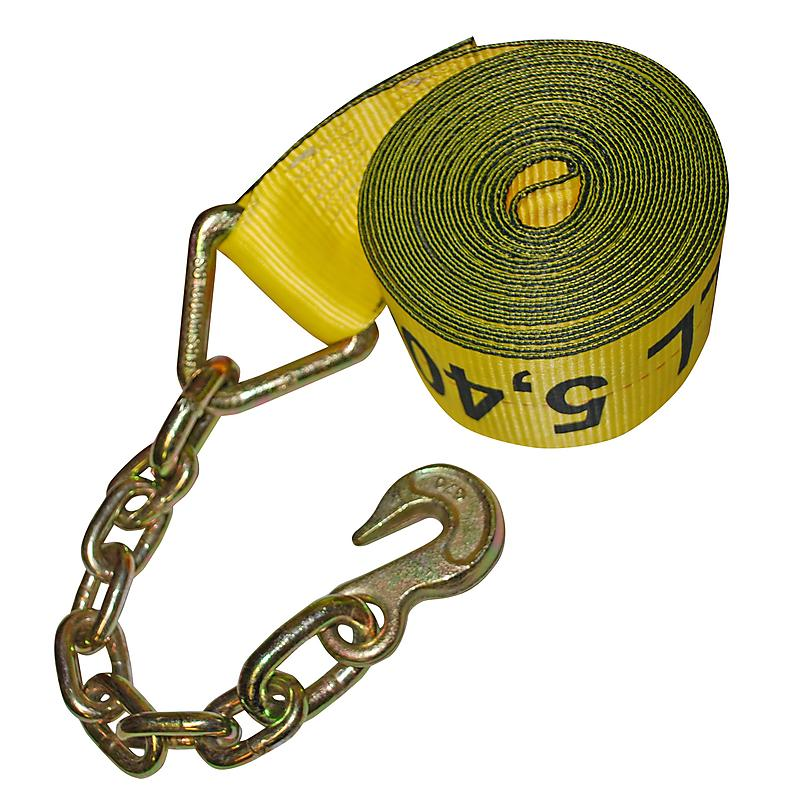 """4"""" x 30' Winch Strap with Chain & Hook"""