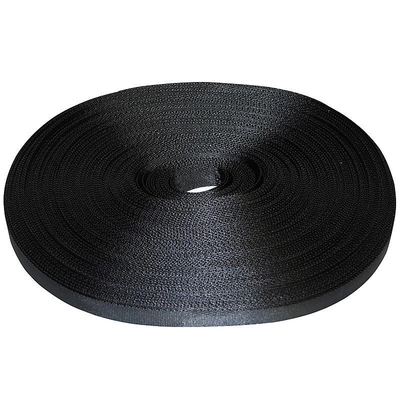"1"" Black Polyester Webbing 1500 lb"