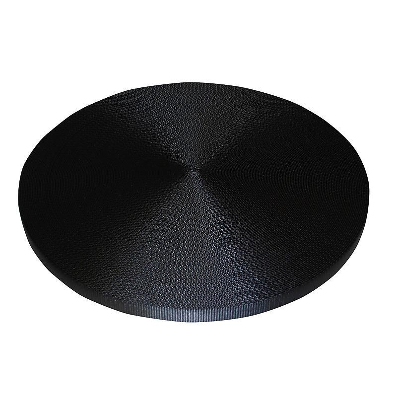 "1"" Black Polyester Webbing 6,600 lb"