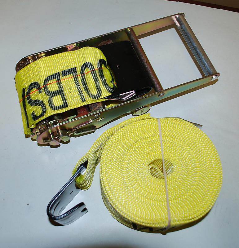 "4"" x 27' YELLOW Ratchet Strap with Flat Hooks"