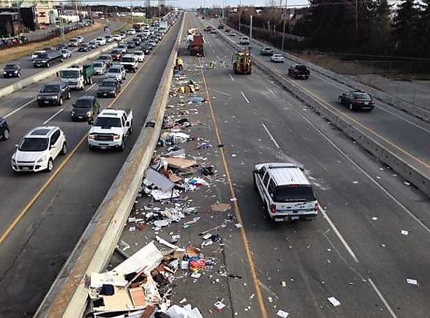 Cargo debris across highway