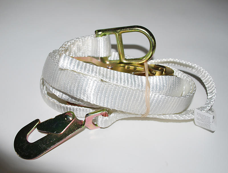 "1"" x 15' WHITE Ratchet Strap with D-Ring & Snap Hook"