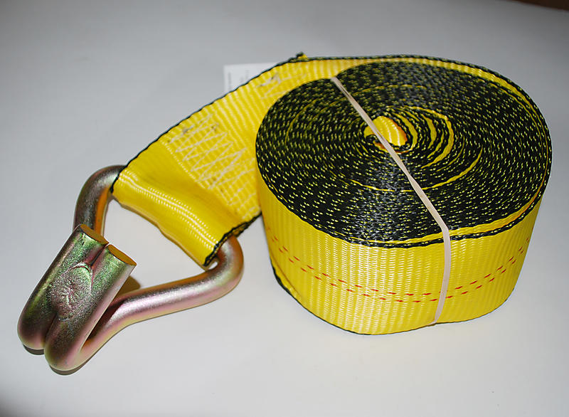 "3"" x 27' YELLOW Winch Strap with Wire Hook"