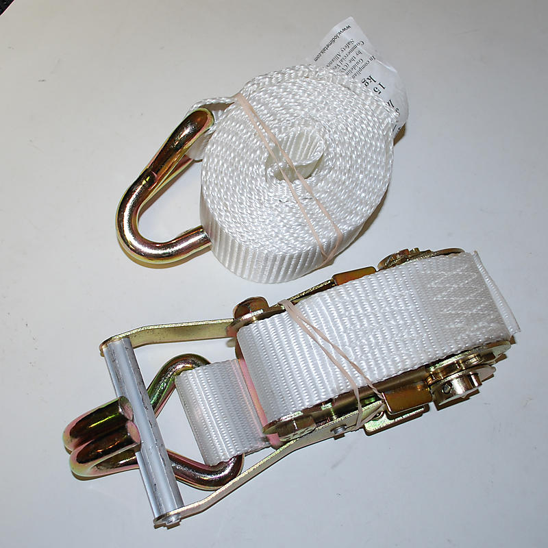 """2"""" x 10' WHITE Ratchet Strap with Wire Hooks"""