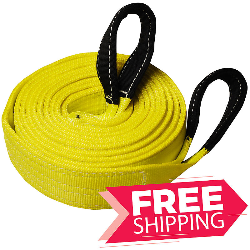 """3"""" x 20' TWO PLY Tow Strap with 10"""" Cordura Eyes"""