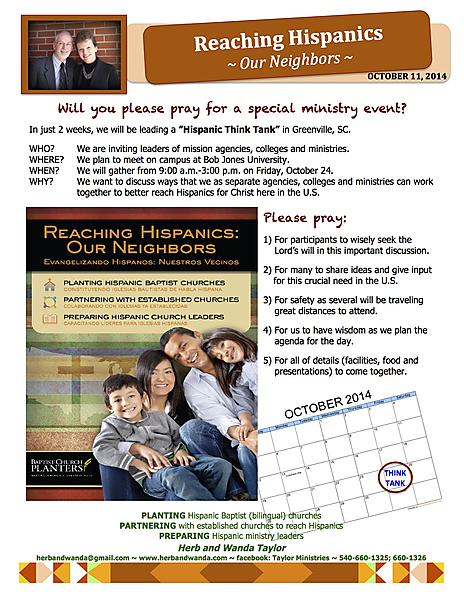 MINISTRY UPDATE OCTOBER 11 2014