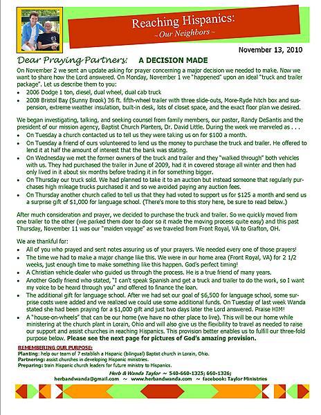 Ministry Update November 13 2010
