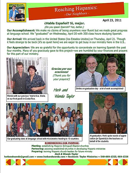 Ministry Update April 23 2011