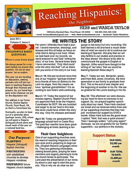 Ministry Newsletter June 2011