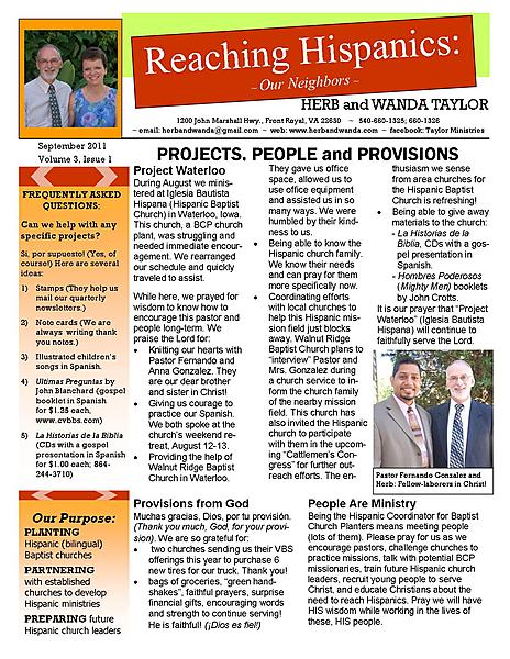 Ministry Newsletter September 2011