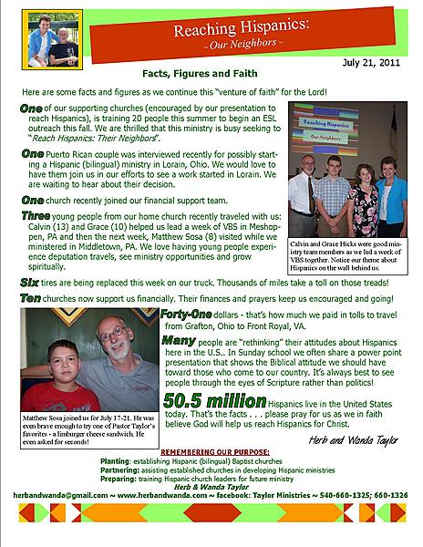 Ministry Update July 21 2011