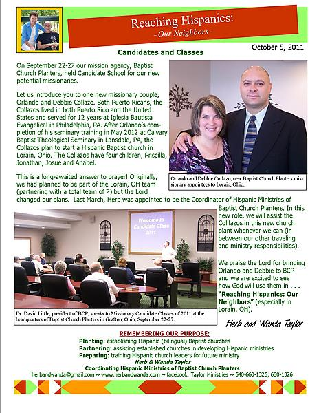 Ministry Update October 5 2011