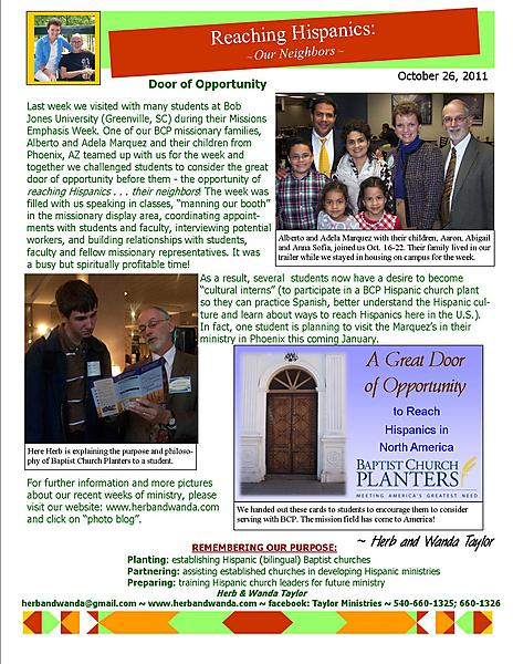 Ministry Update October 26 2011