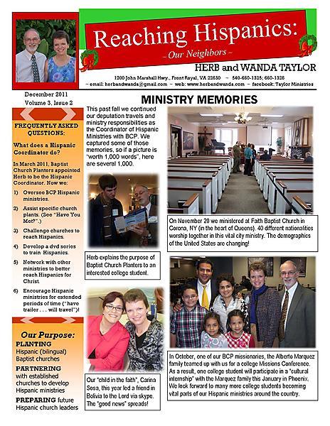 Ministry Newsletter December 2011