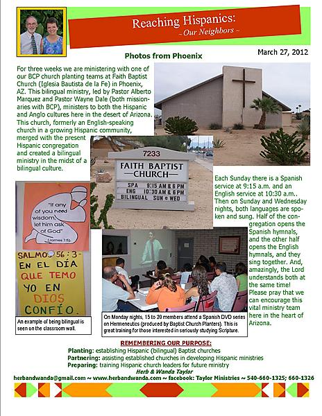 Ministry Update March 27 2012