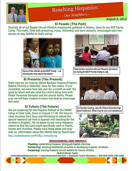 Ministry Update August 3 2012