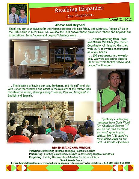 Ministry Update August 21 2012
