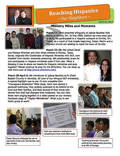 Ministry Update April 26 2013 page 1