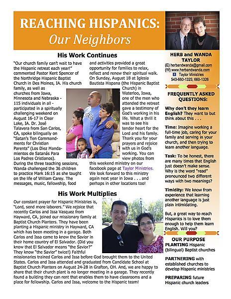 Ministry Newsletter SEPTEMBER 2013