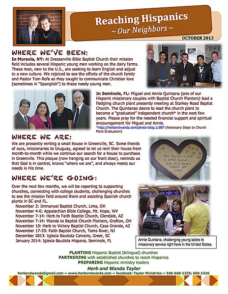 Ministry Update October 2013
