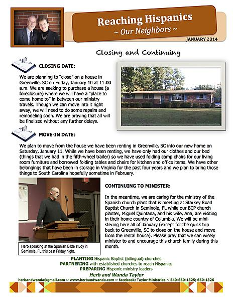 MINISTRY UPDATE JANUARY 2014