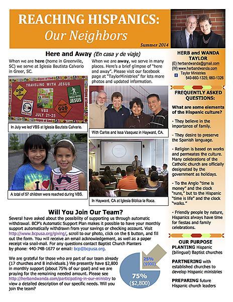 Ministry Newsletter Summer 2014