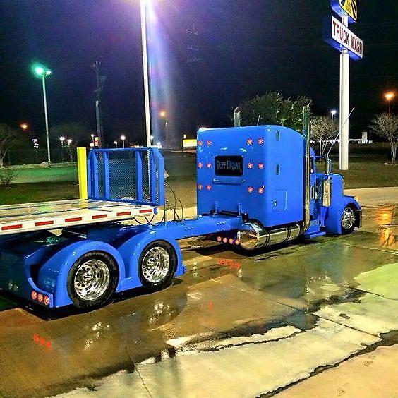 Washing a big rig truck