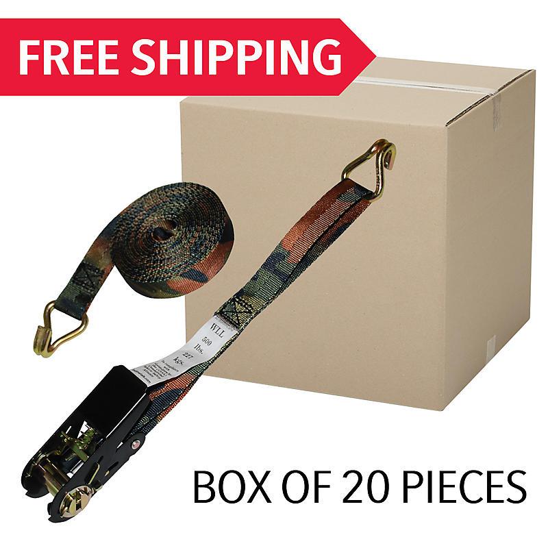 """1"""" x 15' Camo Ratchet Strap w/ Wire Hooks - BOX OF 20"""
