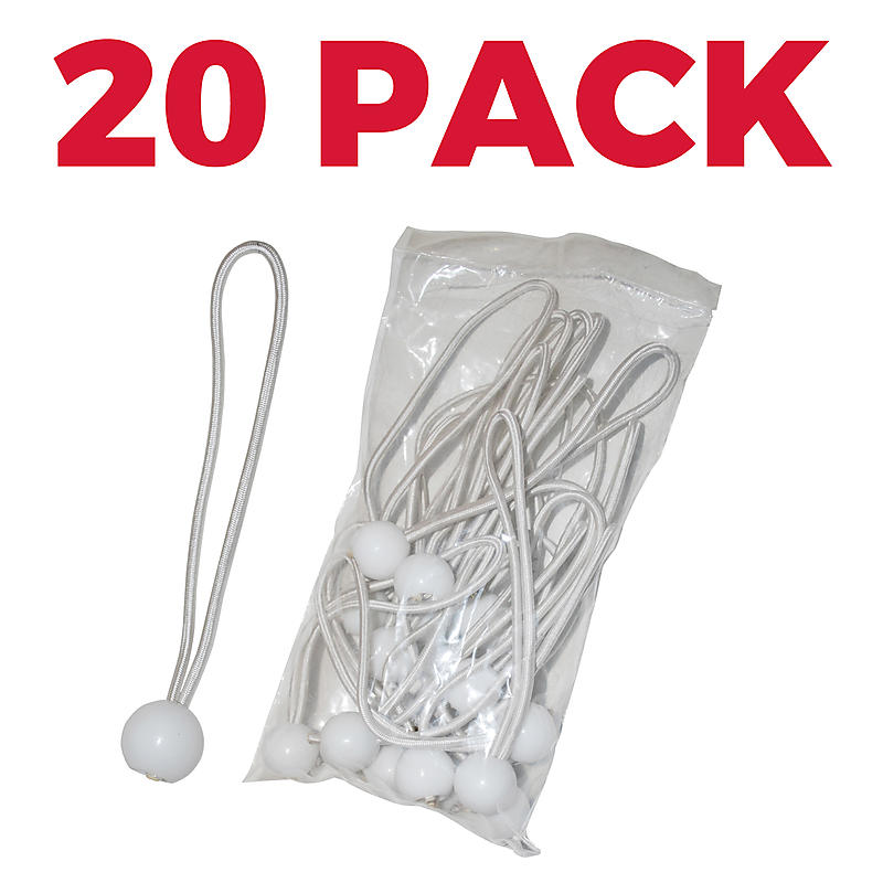 6 inch White Ball Bungee Tie Downs - 20 Packs Per Bag | RatchetStrapsUSA