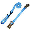 "1"" Blue Heavy Duty Ratchet Strap w/Snap Hook, S-Hook, & Loop"
