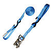 "1"" Blue Heavy Duty Ratchet Strap w/ Vinyl S-Hook & Soft Loop"