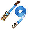 "1"" Blue Heavy Duty Ratchet Strap w/Flat Snap Hooks"