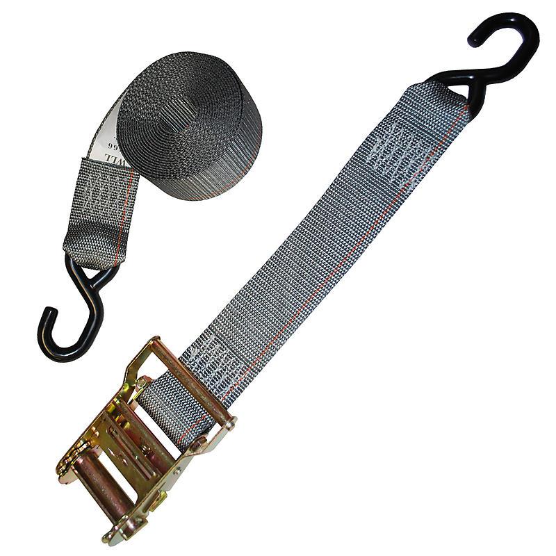 2 inch Gray Custom Ratchet Strap with Vinyl S Hooks