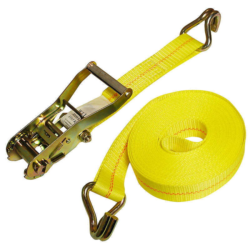 2 inch Yellow Custom Ratchet Strap with Wire Hooks