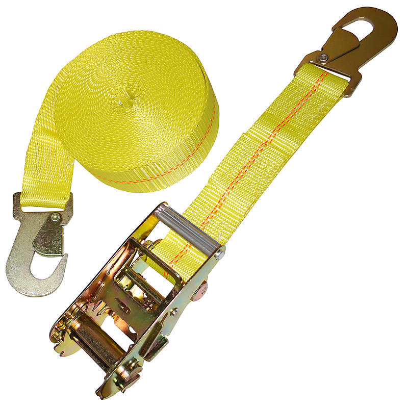 2 inch Ratchet Strap with Flat Snap Hooks Yellow
