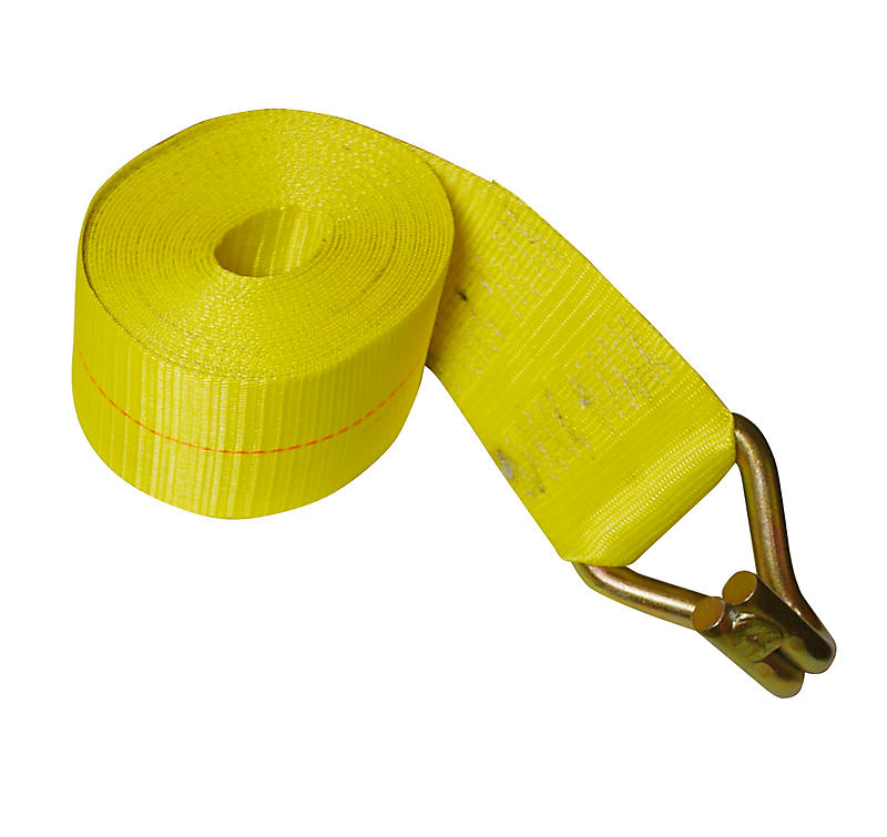"""4"""" x 30' Yellow Winch Strap with Wire Hook 