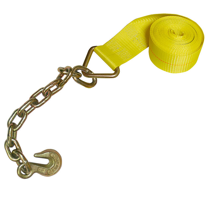 4 inch Yellow Winch Strap with Chain and Hook | RatchetStrapsUSA