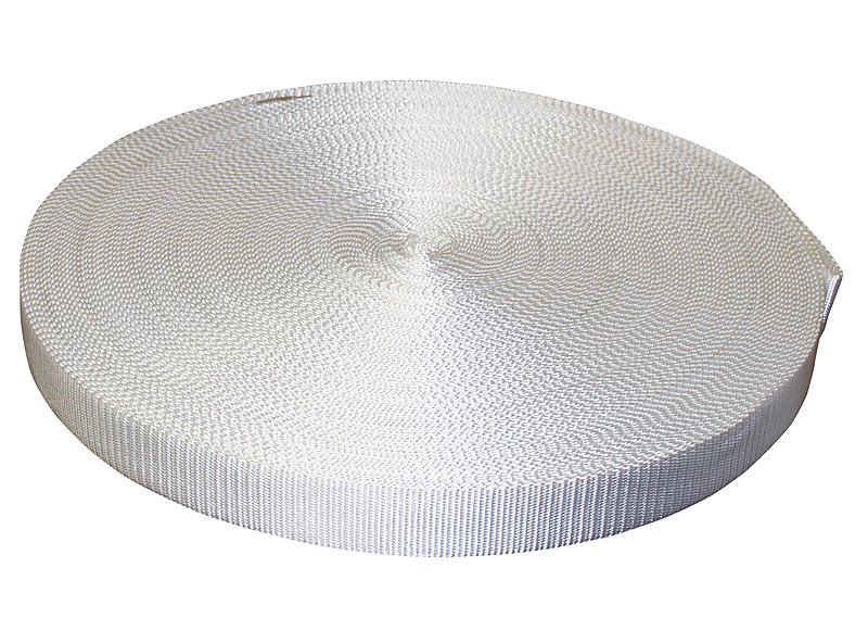 2 inch White Polyester Webbing 12,000 lbs Breaking Strength | RatchetStrapsUSA