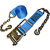 4 inch Blue Ratchet Strap with Chain and Hook | RatchetStrapsUSA