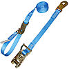 "1"" Blue Heavy Duty Ratchet Strap w/Snap Hooks, Loop & D-Ring"